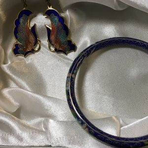 Jewelry - Cloisonné earrings and bracelet.
